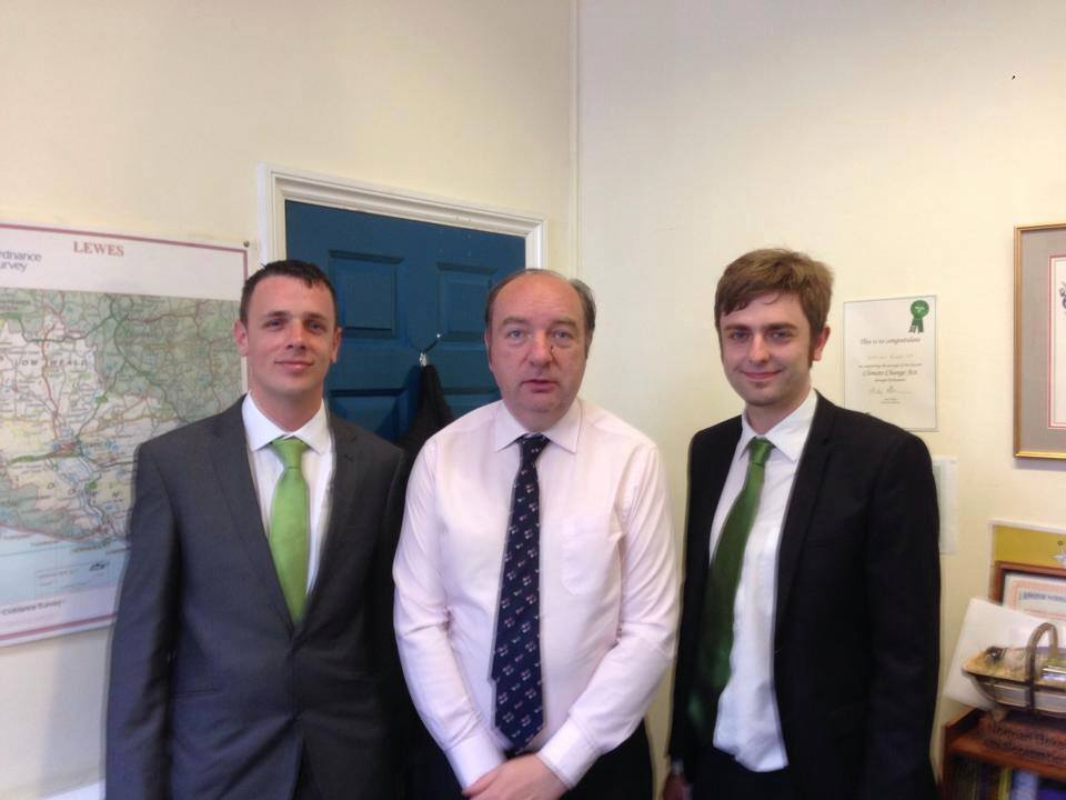 Keiron Reeves and Clark French in their first meeting with Norman Baker in 2014