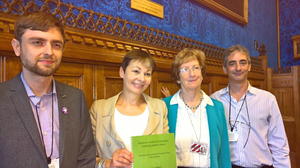 Clark, Caroline, Molly and Jon, House of Lords, Launch of APPG Inquiry into Medicinal Cannabis Sep 2016