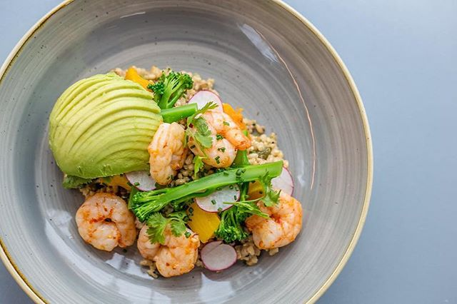 After something light, but will keep you going?  Step forward our Grain Bowl with added prawns! #Noshington