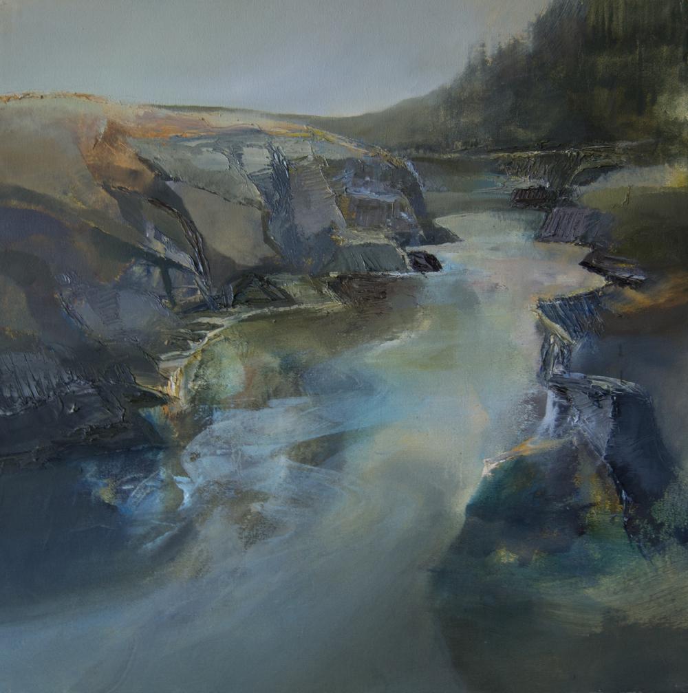 Ystwyth Falls at Hafod oil 60x60cm.jpg