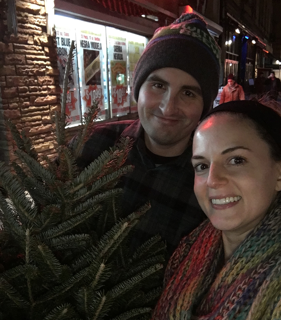 Getting our tree! After a solid workout! Positivity!
