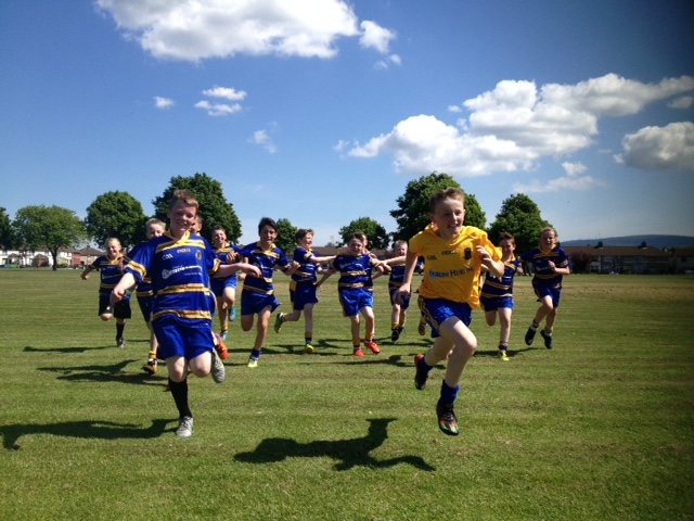 The Blues take to the field.