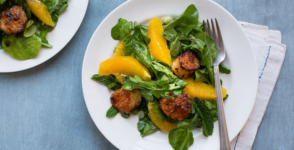 Tangy Peach Glazed Scallops with Arugula, Orange, Mint and Scallion