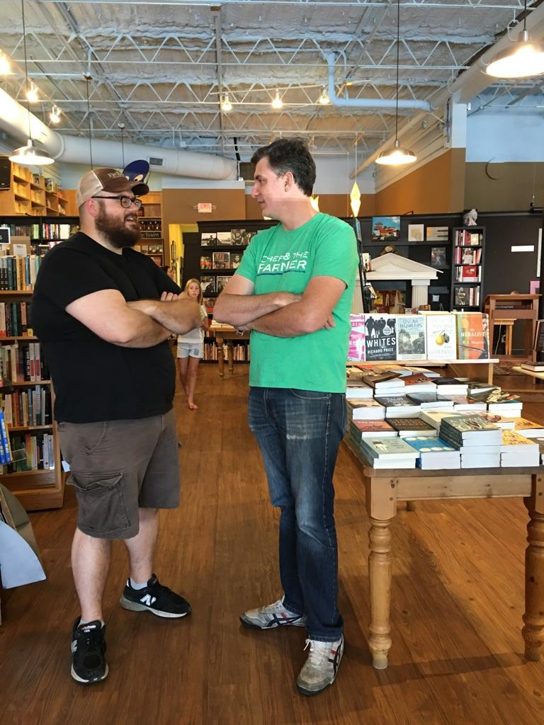 Michael  Szczerban, an executive editor at  Little ,  Brown  and Company  and Ben Knight talk it up at Parnassus Books in Nashville, Tennessee.