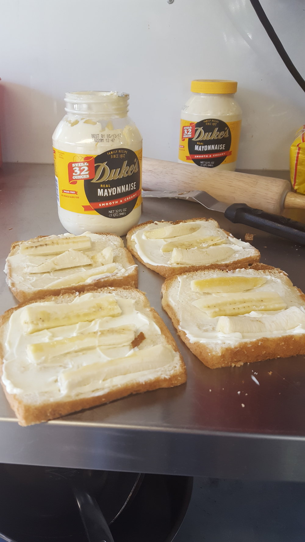 Duke Mayo and Banana Sandwiches – we're taking our Duke's with us!