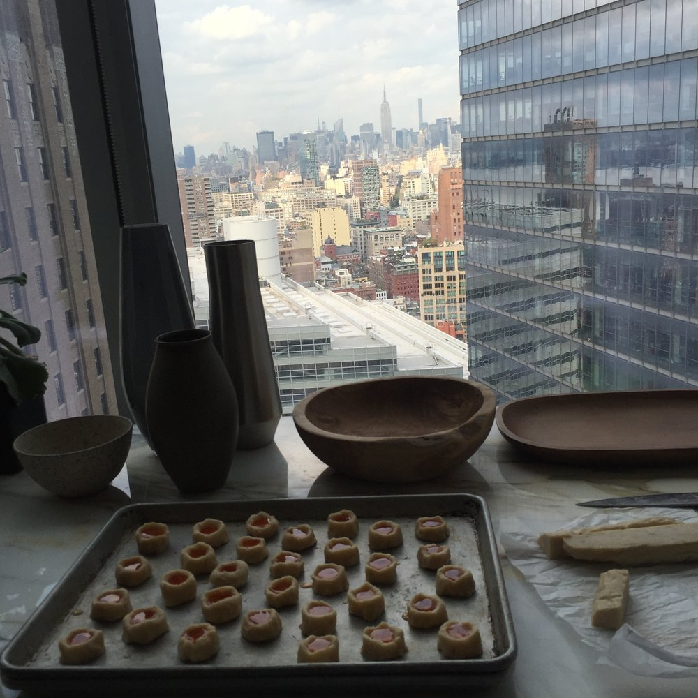 Prepping gouda and hot apple jelly thumbprint cookies at the Bon Appetit test kitchen.