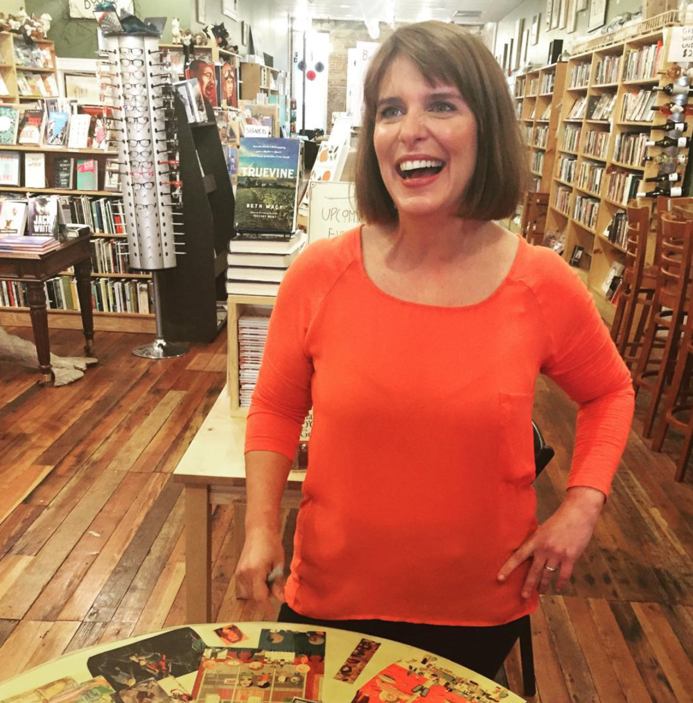 That time @staceyvanberkel came to my book signing & showed everybody how to wield an iPhone camera while capturing both me & the brilliant new #bethmacy book, TRUEVINE. @littlebrown@scuppernongbooks #deeprunroots