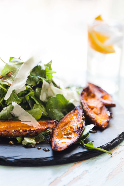 Arugula Salad with Shaved Parm and Sweet Potato Skins