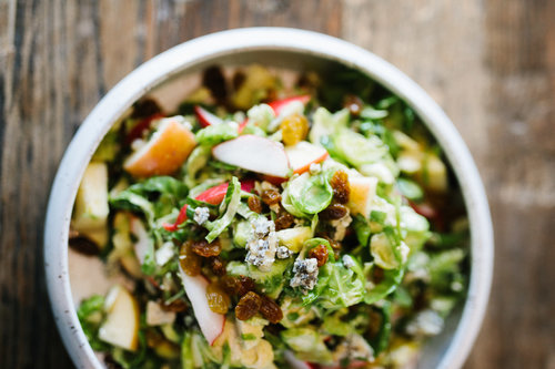 Brussels Sprouts, Apples and Pomegranate with Blue Cheese Honey Vinaigrette