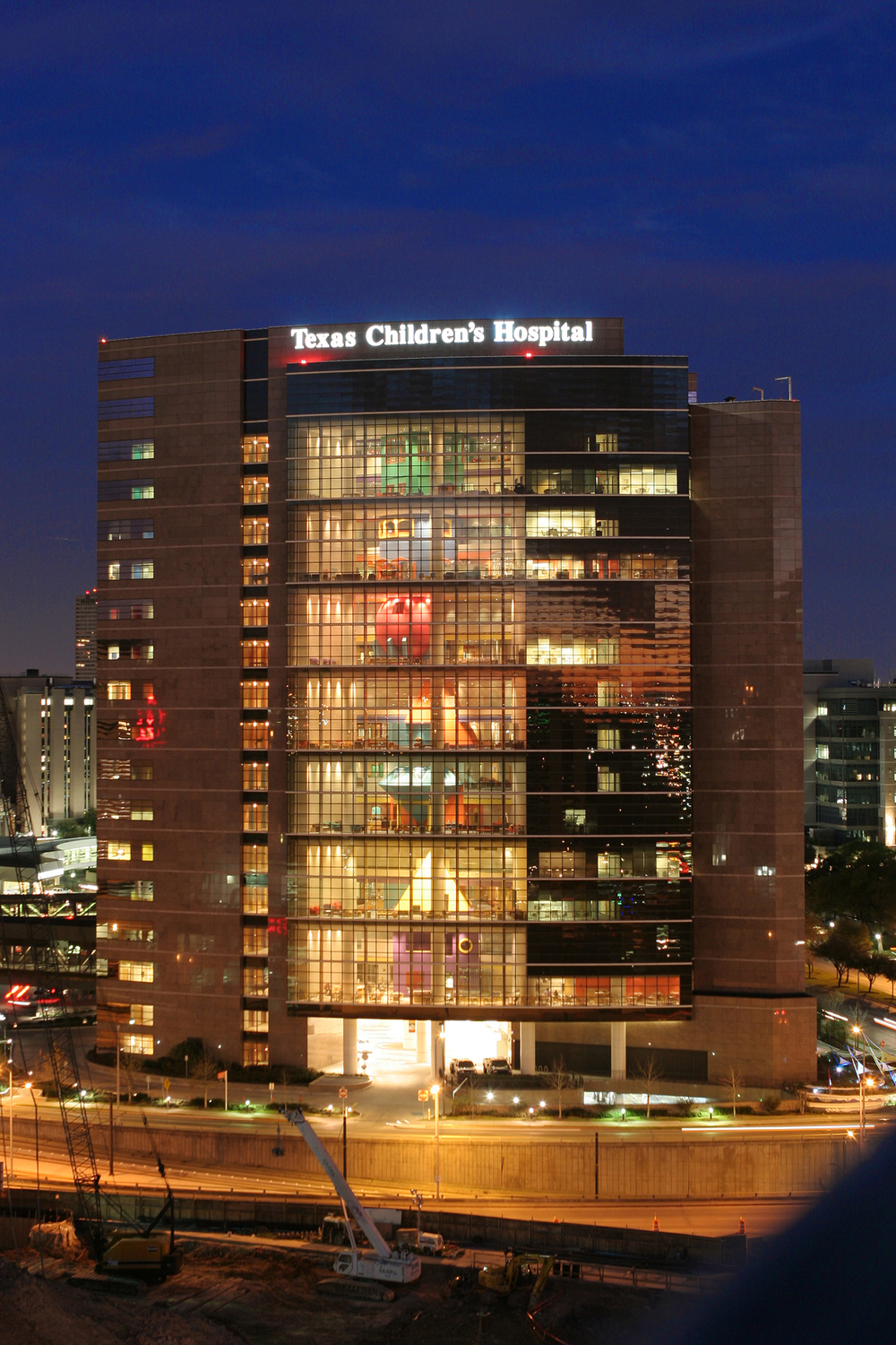 The Clinical Care Tower at Texas Children's Hospital in the Texas Medical Center houses most of the more than 40 pediatric subspecialties clinical areas.