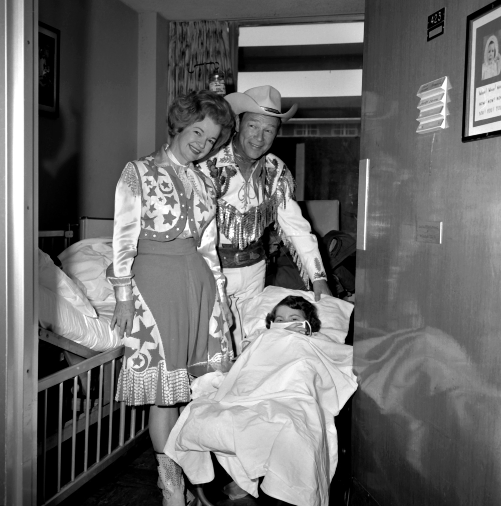 Roy Rogers and Dale Evans visit a patient at Texas Children's Hospital in 1968.