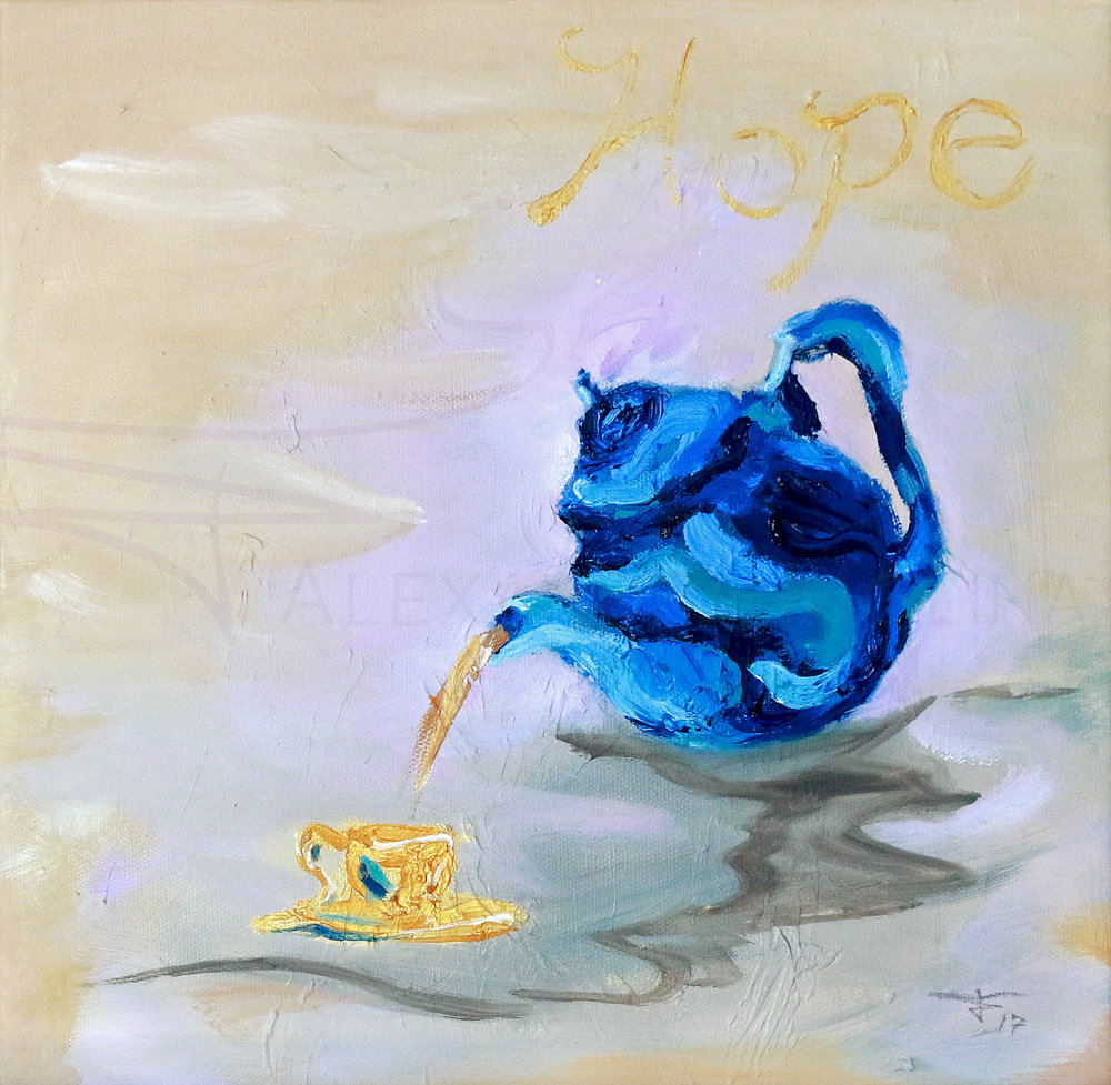 hope blue tea pot
