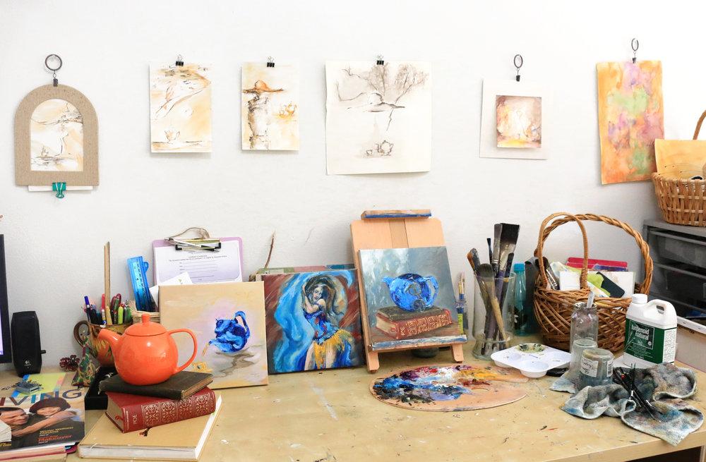 studio desk and tea