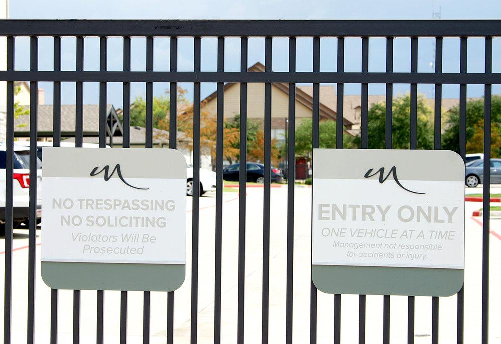 Multifamily Gated Entry Signage in Houston