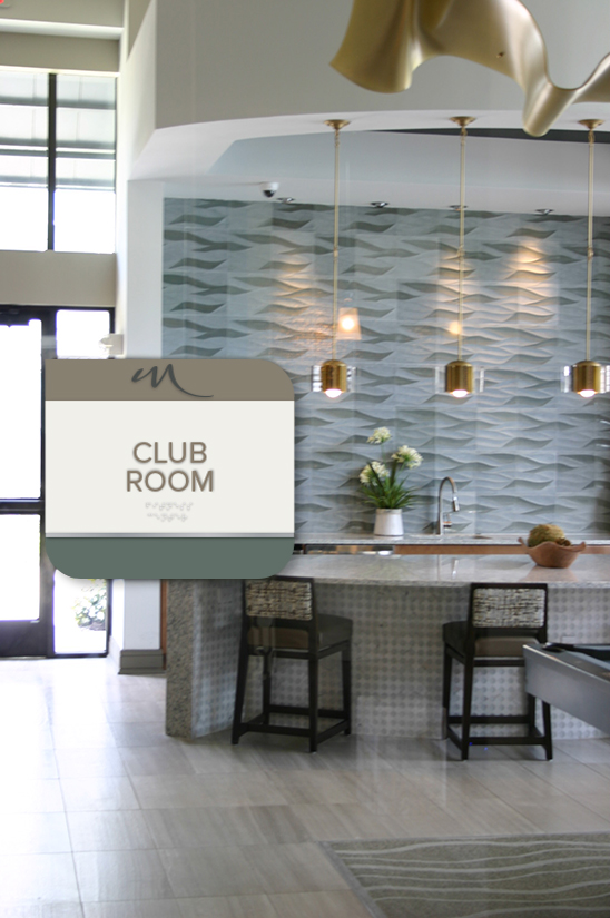 Multifamily Club Room Signage in Houston