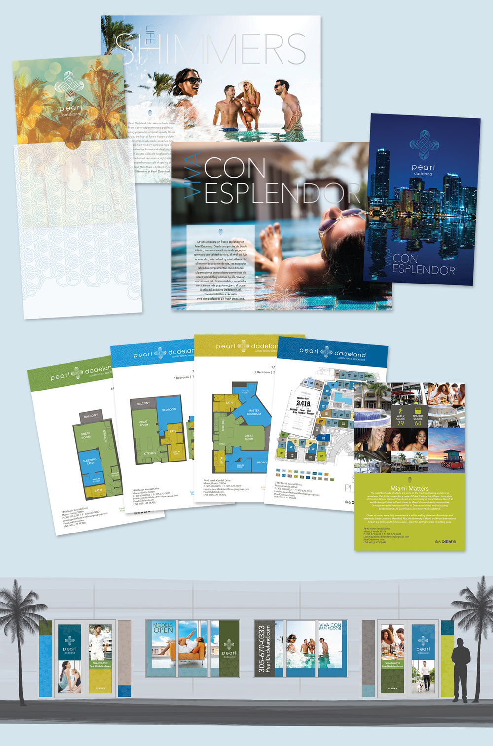 Multifamily Residential Community Brochure, Inserts, Floorplan & Sitemap, Neighborhood, Window Art