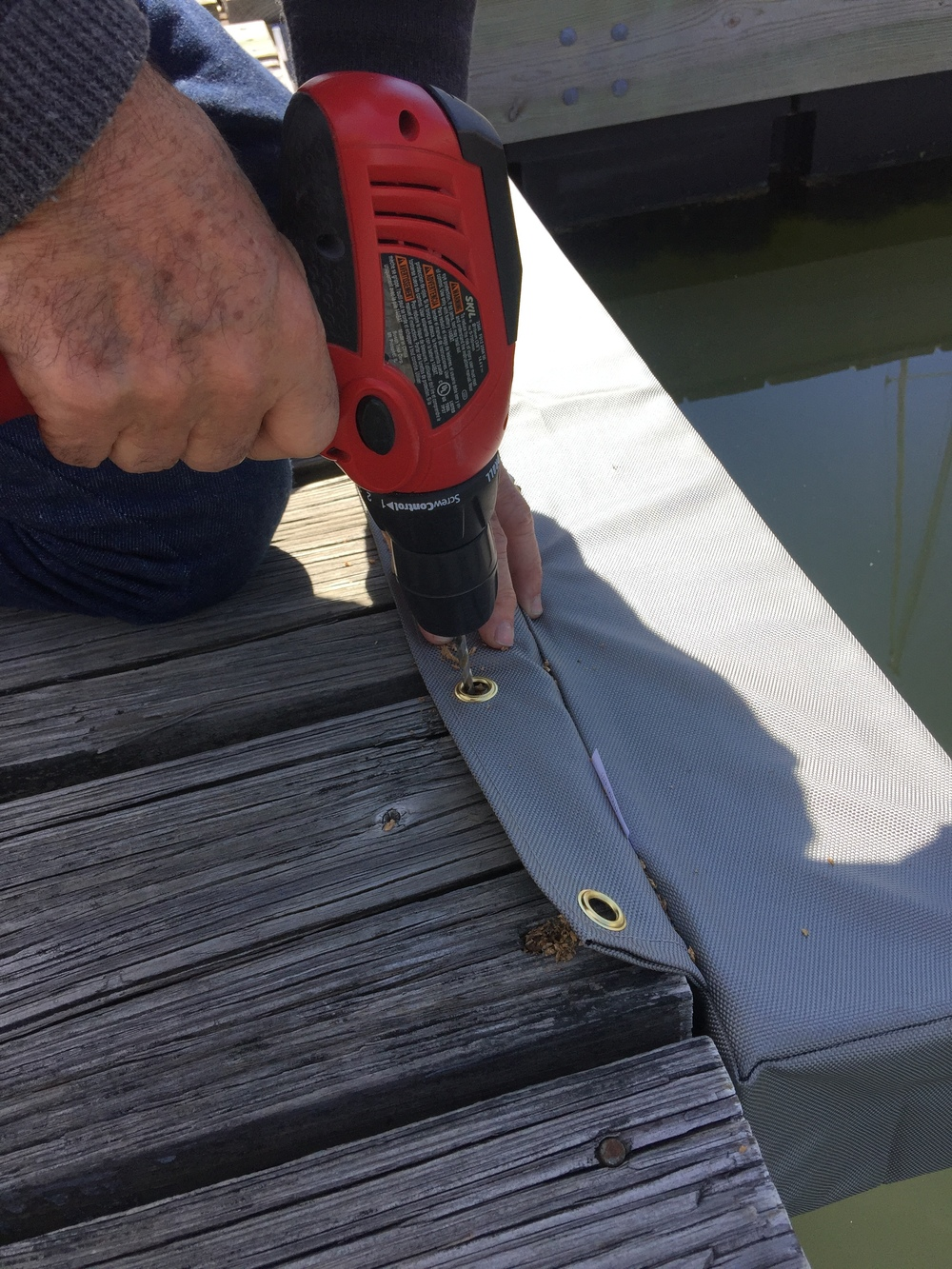 Boat Pillow Dock Fenders Installation Drill Pilot Holes