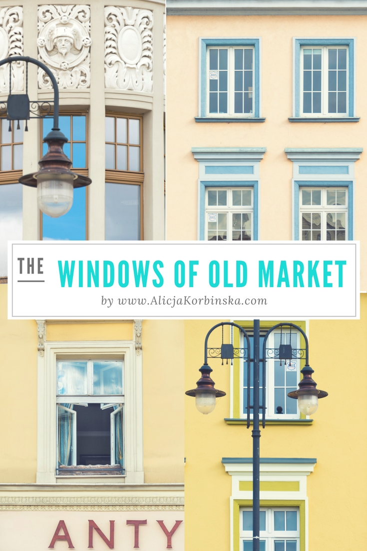 Windows of The Old Market Square in Bydgoszcz city, Poland.