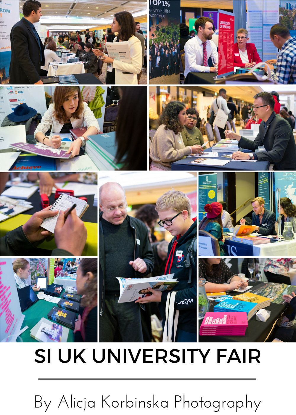 Largest UK's University Fair for international students in London by SI-UK. Universities and students all working hard.