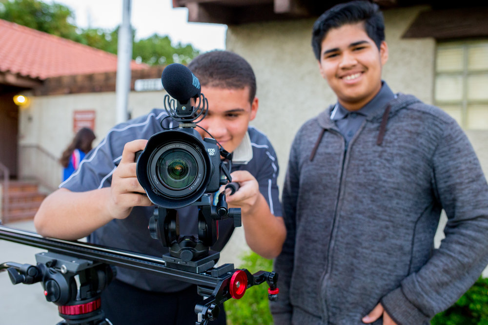 IMPACT juniors Jonathan Idelfonso and Alfredo Ruiz gather footage at the Coachella Valley History Museum.