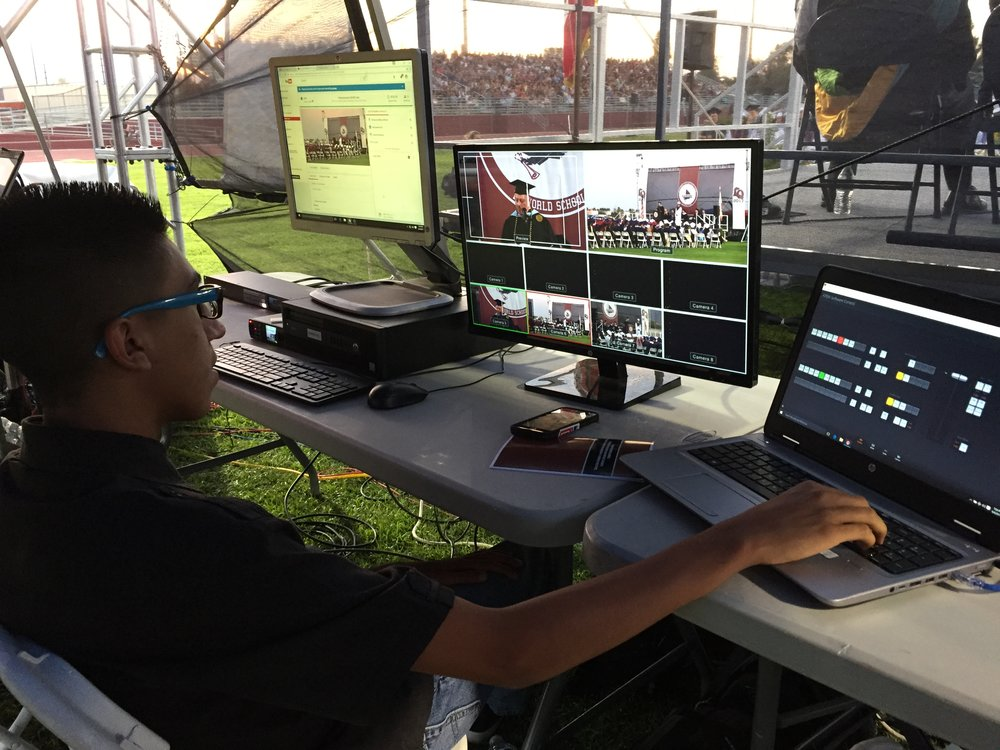 Students were able to control cameras and audio from a mobile control room behind the stage