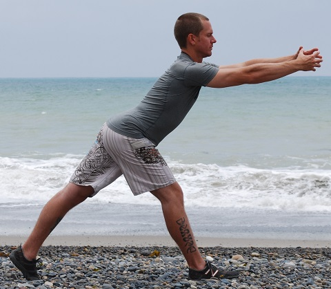 Lunge stretch lengthens the front of your body while supporting your spine in extension and working balance.