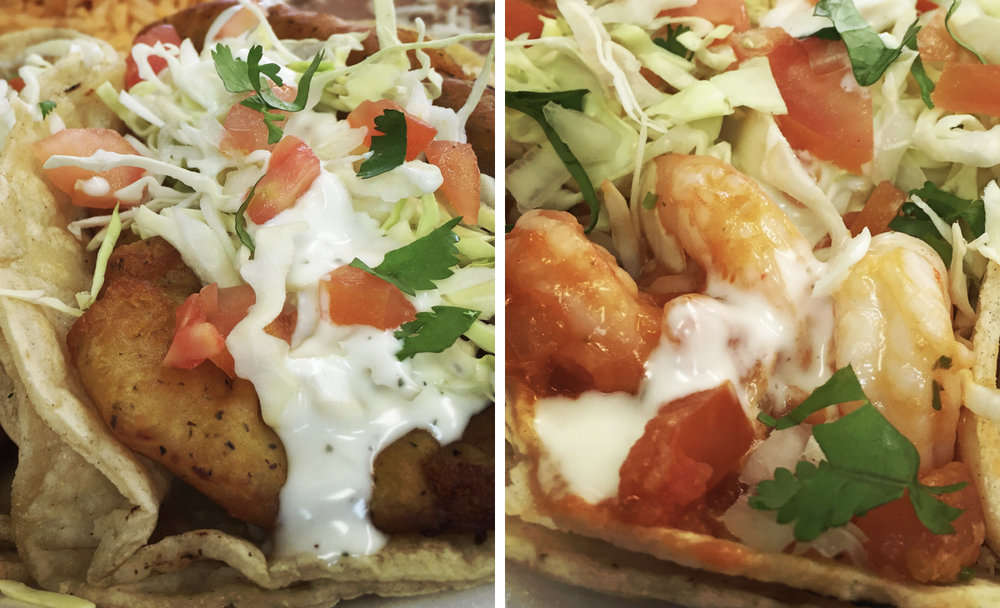 Left: Fish Taco, Right: Shrimp Taco