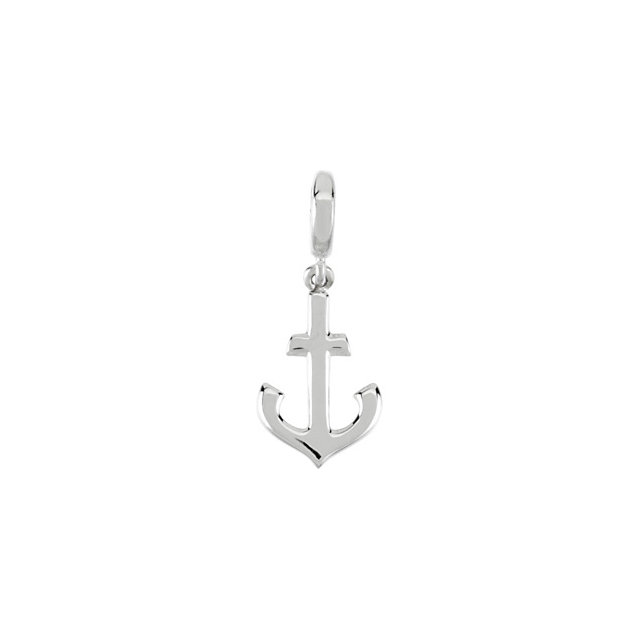 Alloyed 14k white gold anchor pendant.