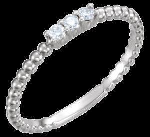 14K White Gold Stackable Beaded Diamond Ring