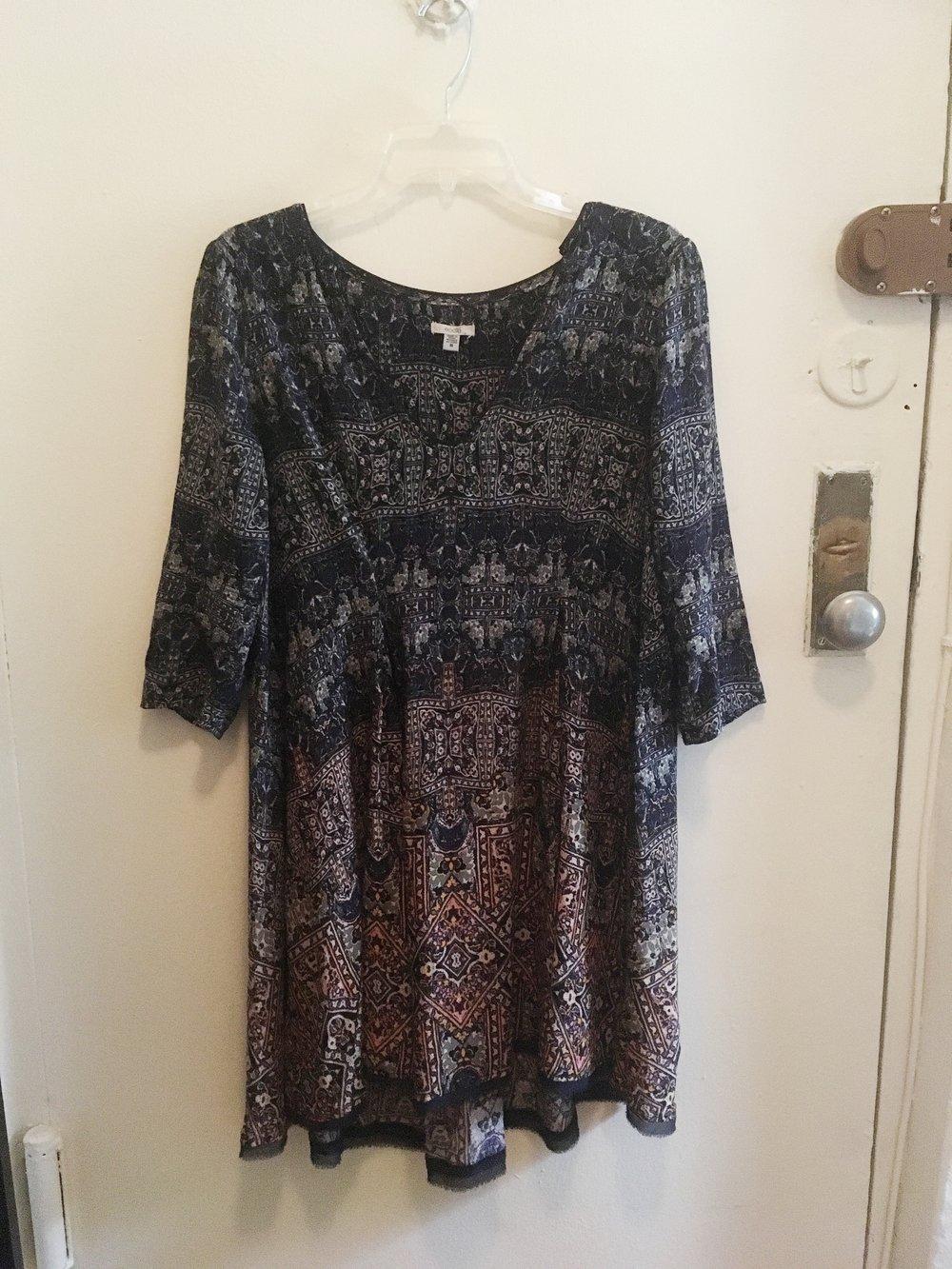 3/4 Sleeve Print Dress, $20