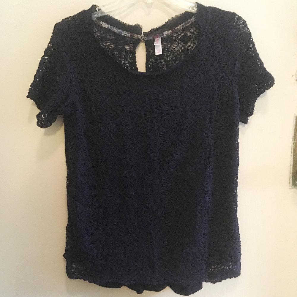 Lace Navy Short Sleeve, $5