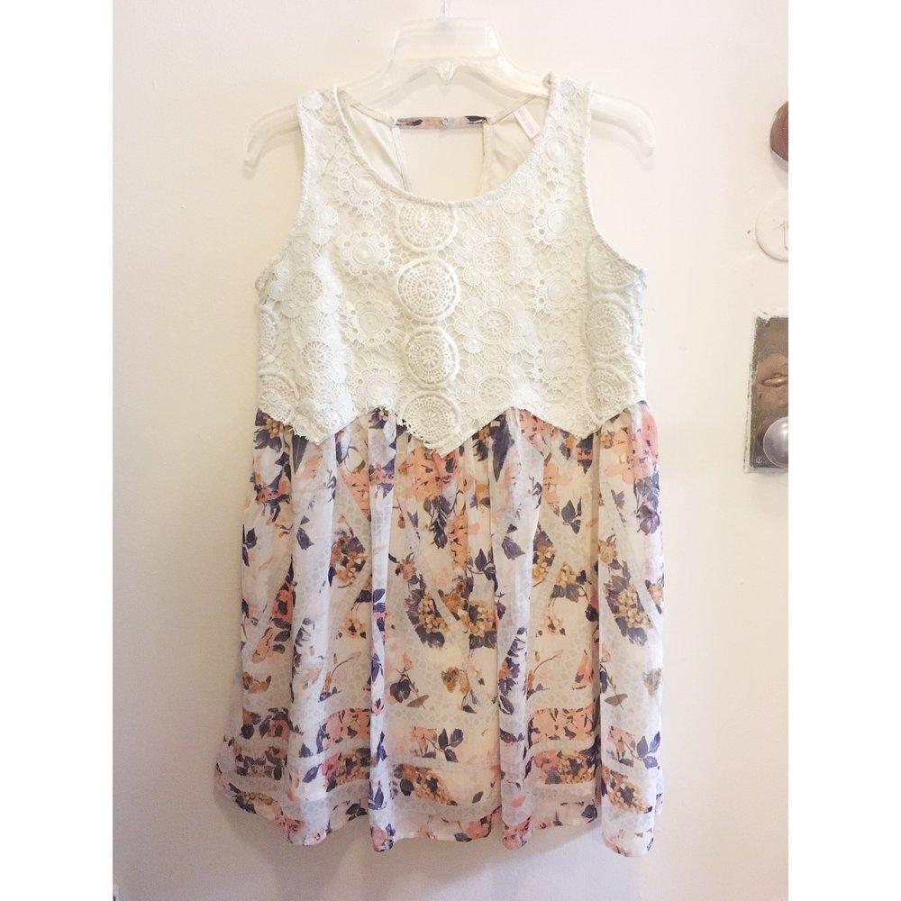 Lace + Floral Dress, $15