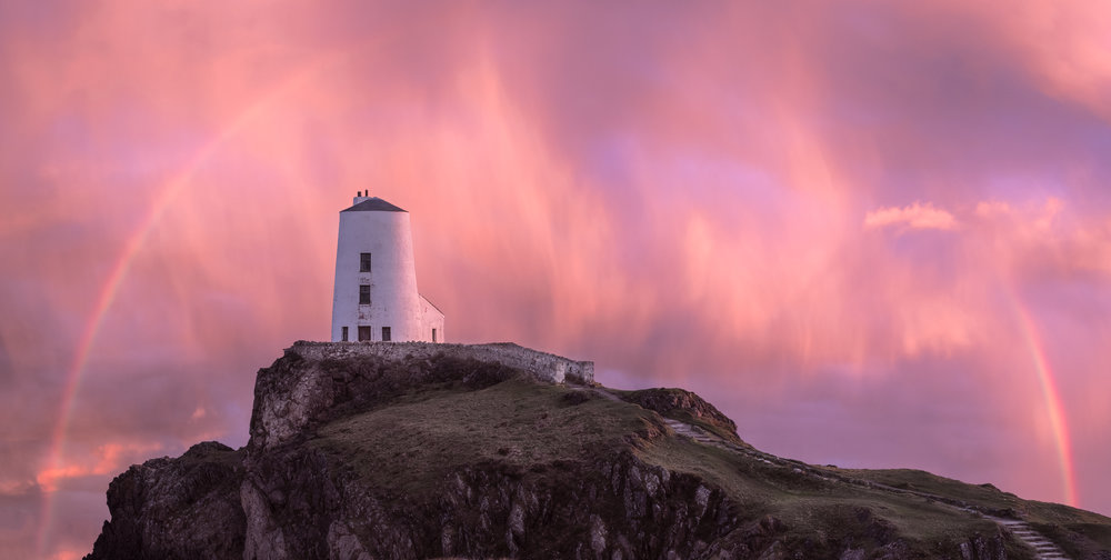Llanddwyn Island Lighthouse rainbow 1.jpg