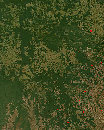 Deforestation in Brazil on NASA satellite image.