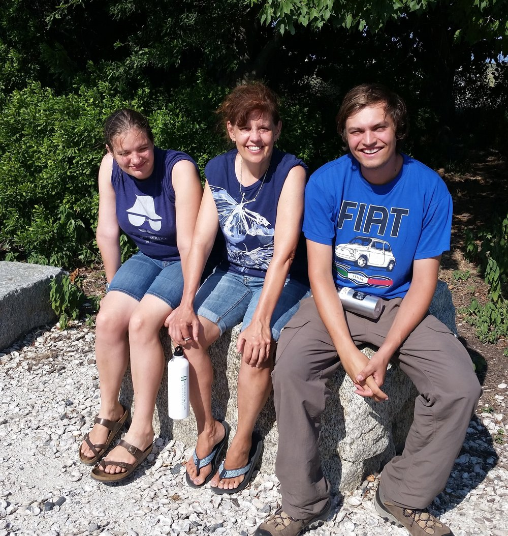 Heidi Hemming (center) with Lucy and Jeremiah Savage on Poplar Island, July 21, 2017