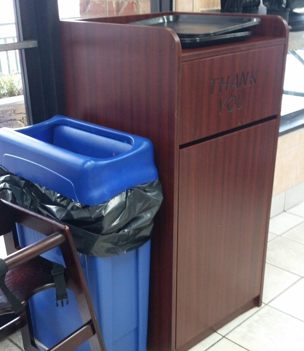 Gemelli's Italian Deli in Kentlands now has a recycling bin.  A great place to eat.