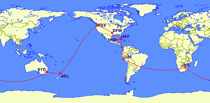 General flight plan for the Southern Hemisphere part of the trip.