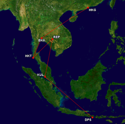 This is close up of the flights we took around Asia.