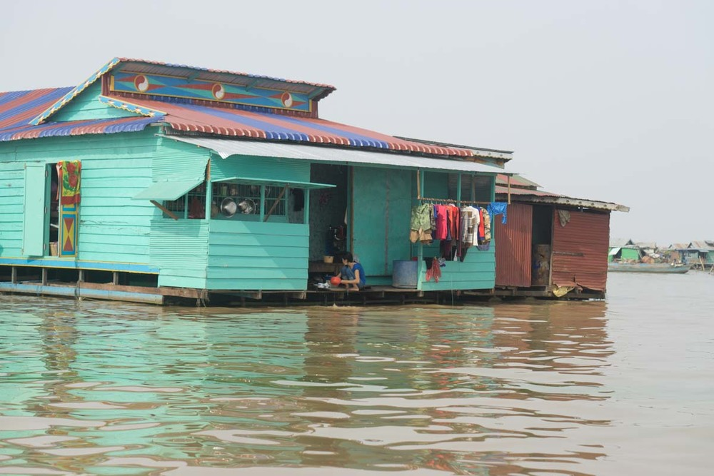 A house in the floating village on Cambodia's Tonle Sap Lake.