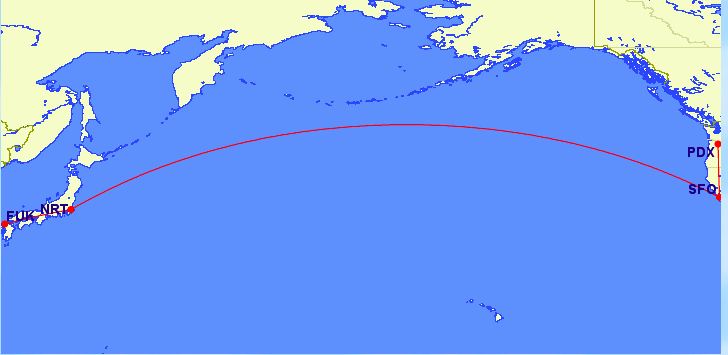 Here is the flight path we took to get here,