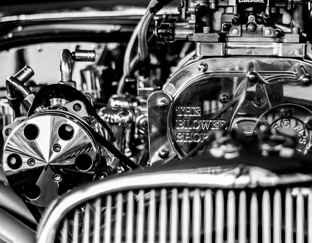 Close up of vintage car engine.