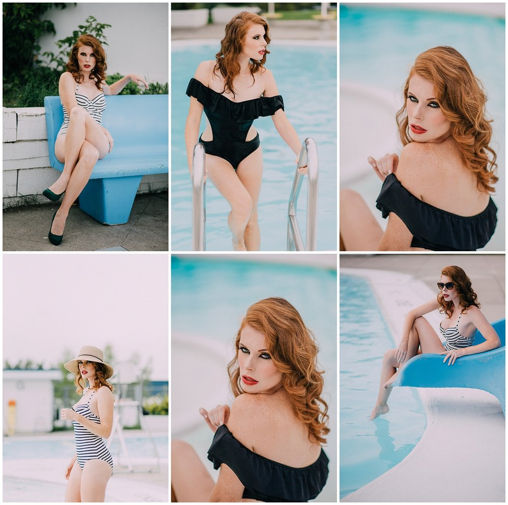 Vintage Swim Shoot for Michele Weineke - hair and makeup Glam and Beyond