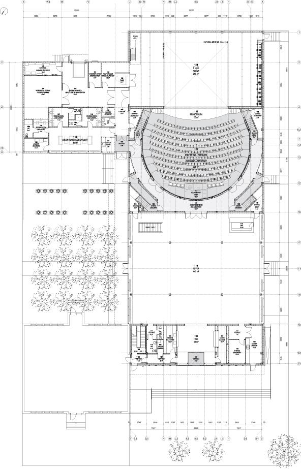 Plan du rez-de-chaussée de la salle de spectacles.