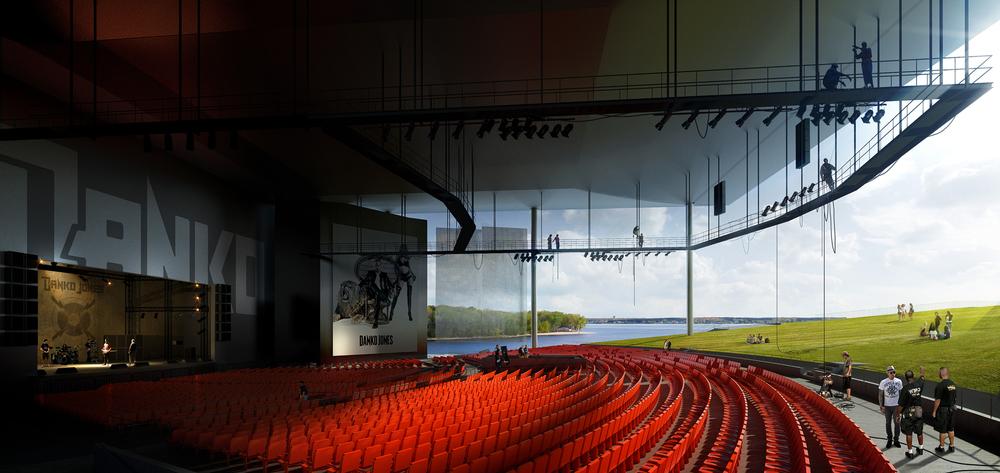 Vue de l'auditorium soumise au concours en 2011. Les sièges sont les seuls éléments de couleur rouge. Image © mir.no