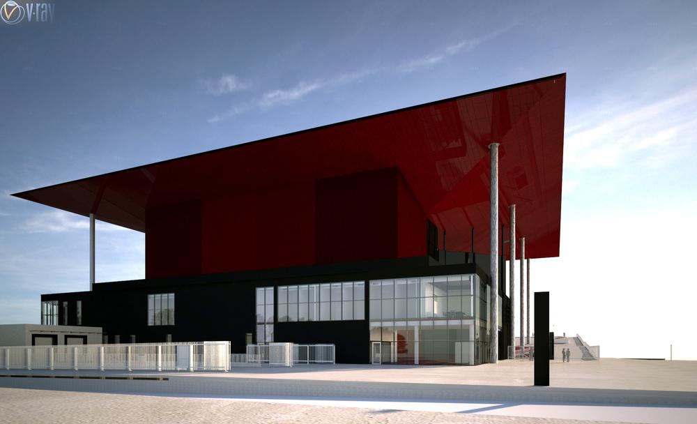 Vue de la façade arrière au 10 février 2014. Suite au voyage à Madrid, le soffite et la cage de scène ont été modifiés pour la couleur RAL 3007.