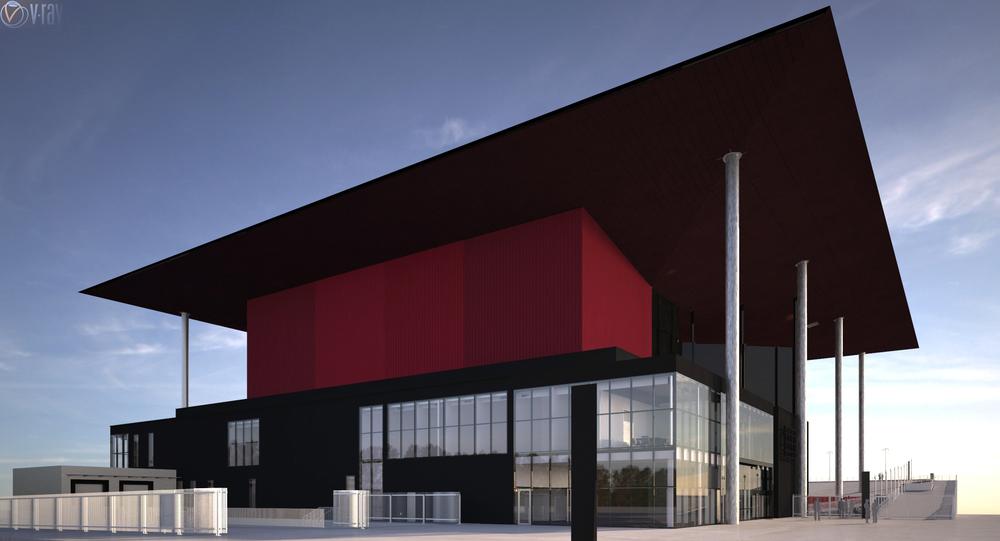 Vue de la façade arrière au 10 février 2014. Des tests de couleur avec rouge vif sur la cage de scène.