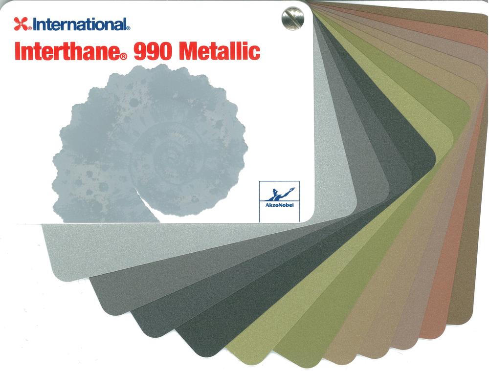 Charte des couleurs métallisées d'International. La couleur Quicksilver utilisée pour les colonnes est la première couleur, la plus pâle.