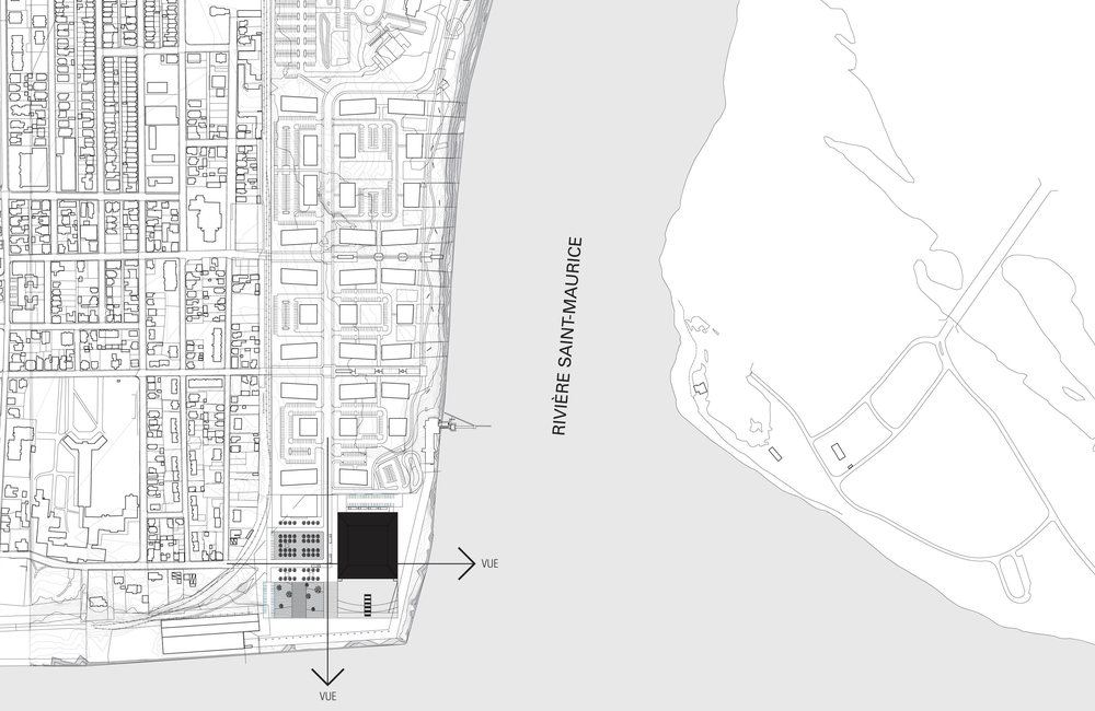 Plan de site. Deux axes définissent la position du bâtiment.