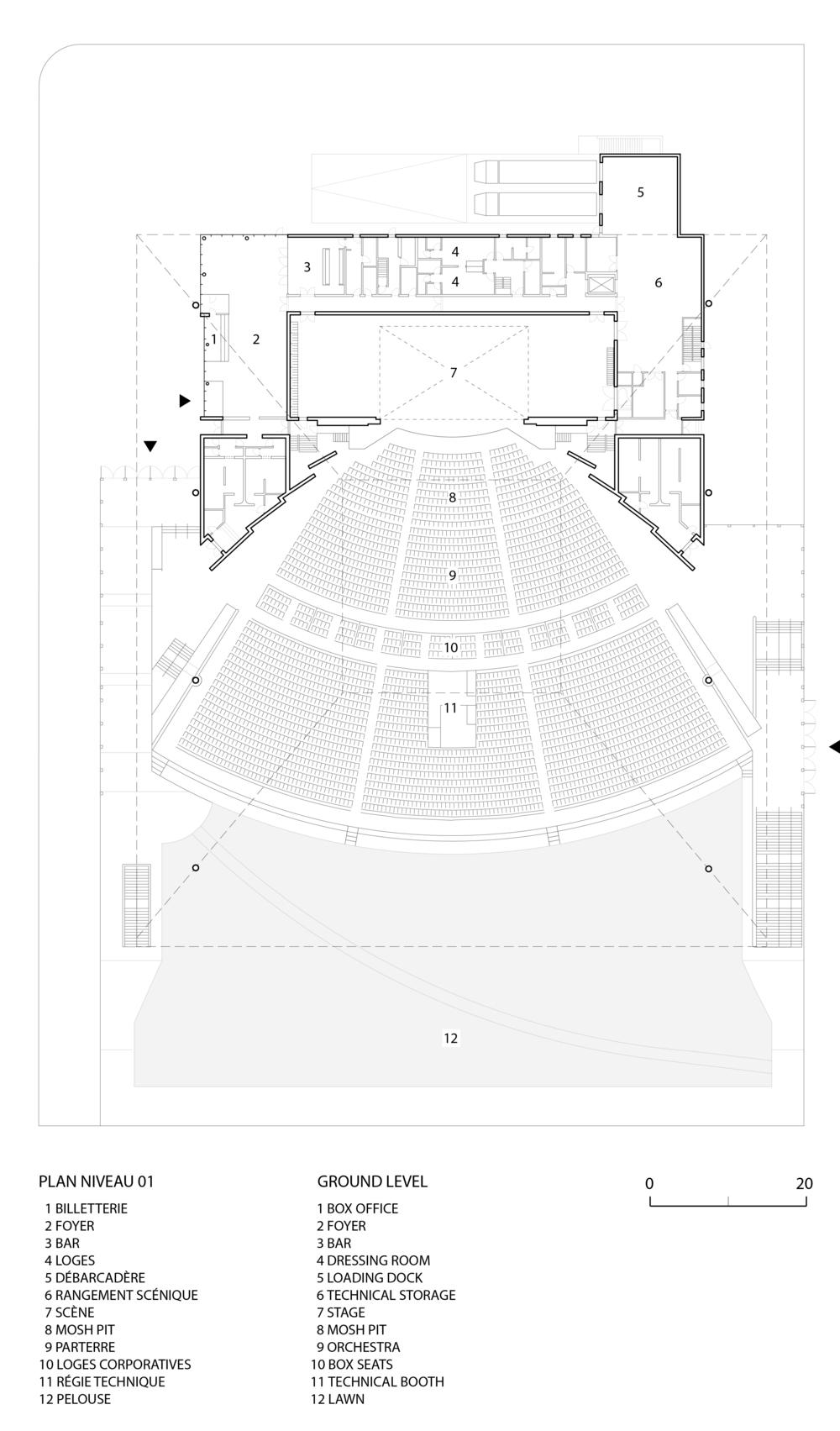 Plan du rez-de-chaussée avec 3,500 sièges et une pelouse pour 5,500 personnes.