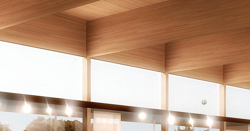 Détail du plafond en bois lamellé